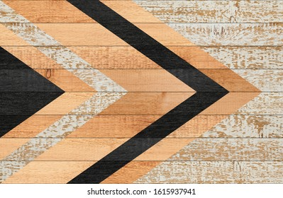 Vintage wooden panel with geometric pattern made of painted boards for wall decoration.