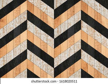 Vintage wooden panel with geometric pattern made of painted boards.