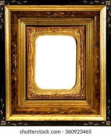 Vintage wooden picture frame with ornate daguerreotype gold insert