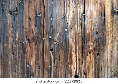 vintage wooden planks backgound with forged nails