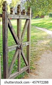 Vintage wooden rural gate in garden, Pereiaslav-Khmelnytskyi, Ukraine