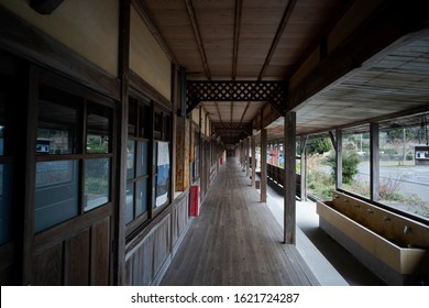 Vintage wooden school corridor, simple rooms in a functional guesthouse in Omishima Island Ehime Shikoku Japan