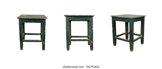 Vintage wooden stool in three views isolated on white background