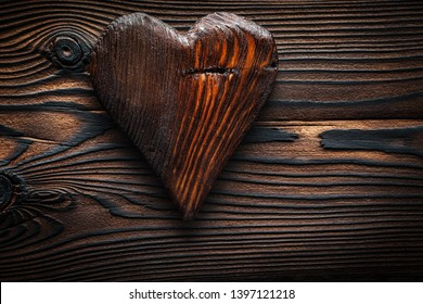 vintage wooden toy valentine heart on wood