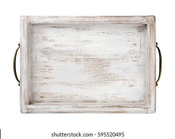 Vintage wooden tray with bronze handles isolated on white background.
