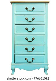 Vintage wooden turquoise chest of drawers isolated on white background. Chest of 6 six drawers