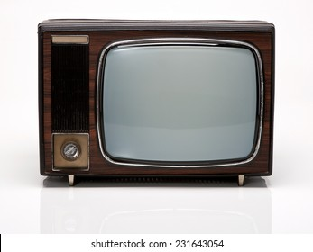 Vintage Wooden TV isolated on White Background. Front View with Real Shadow. Copy Space for Text or Image