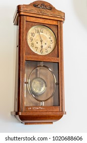 Vintage Wooden Wall Clock with Analog Pointers