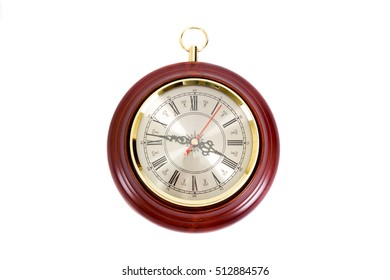 Vintage wooden wall clock on a white background