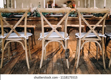 Vintage wooden wedding chairs
