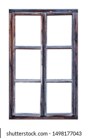 Vintage wooden window with six pane on white background
