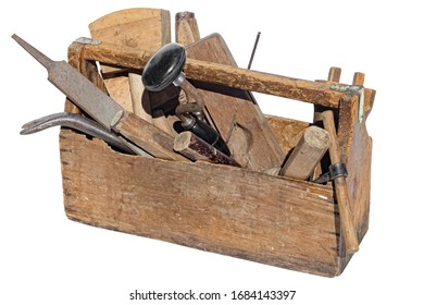 Vintage WoodenTool Box Full of carpentry Tools. Isolated on a white background