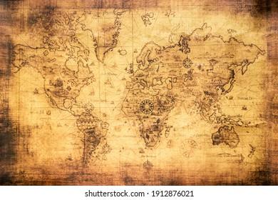 Mapa del mundo vintage en un viejo pergamino manchado