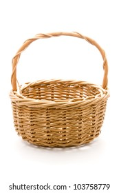 vintage woven basket isolated on a white background