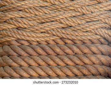 Vintage woven Manila rope macrame in brown and blond tones.