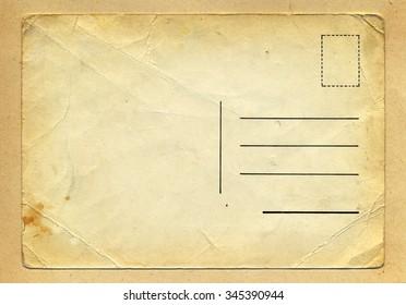 Vintage wrinkled old school grungy postcard on handmade beige paper background texture. Burned brown edges gradient.