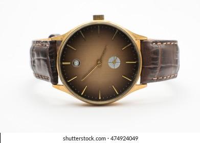 Vintage Wrist watches on white background.