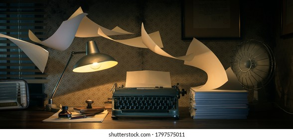 Vintage writer's desktop with typewriter and flying sheets, creativity and inspiration concept