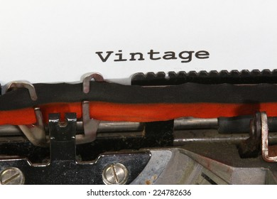 vintage written with ink with the typewriter