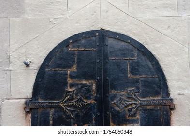 Vintage wrought iron element, vintage wrought iron gate, wrought iron element background.