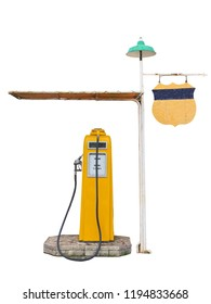 Vintage Yellow Classic Gas Station on White Background