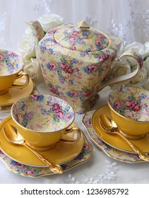 Vintage yellow floral chintz tea cup saucer teapot with gold teaspoon - high tea party