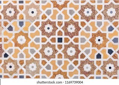 vintage yellow floral pattern floor tile
