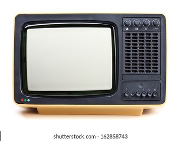 Vintage yellow television set on white background