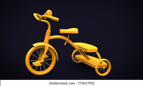 Vintage yellow toy tricycle - 3D Illustration