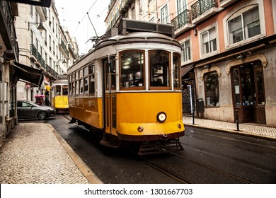 Vintage yellow tram in the city center of Lisbon in a autumn day, Portugal