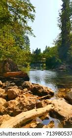 the vintgar gorge river flows to lake Bled park Slovenia