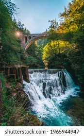 Vintgar gorge waterfall in Slovenia, Triglav national park. Pure fresh water in beautiful nature and forest. Tourist paths near waterfalls