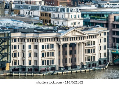Vintners place in London.Situated on the bank of the Thames, Vintners Place has spectacular river views. Located to the west of the Southwark Bridge:LONDON,ENGLAND-26 AUGUST,2018