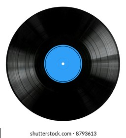 Vinyl 33rpm record with red label.  Isolated on white.