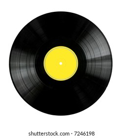 Vinyl 33rpm record with yellow label.