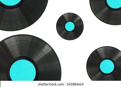 Vinyl disc on white background