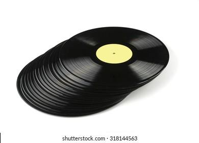 Vinyl discs isolated on white background