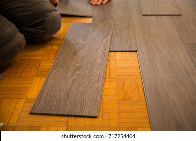 Vinyl floor is laid on parquet flooring
