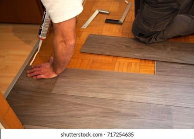 Vinyl floor is laid on parquet flooring