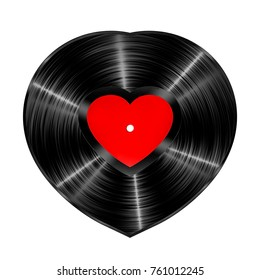 Vinyl heart record / 3D illustration of heart shaped vinyl record