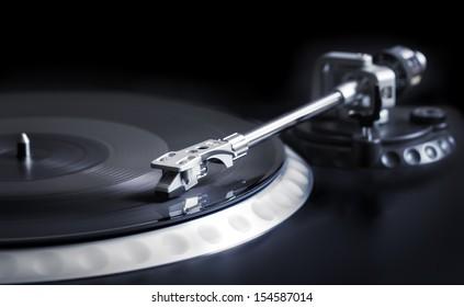 vinyl laying on a record player - nightclubbing, dj etc.