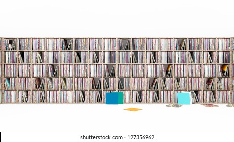 Vinyl LP Rack on white 3D
