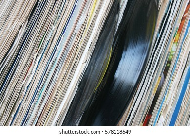 Vinyl music audio records with colorful sleeves