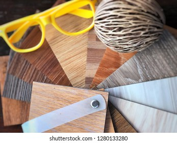 Vinyl plank flooring or PCV synthetic product sample stack for interior design