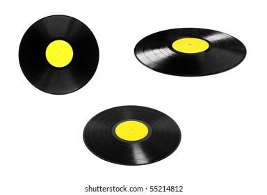 vinyl plates set isolated on white background