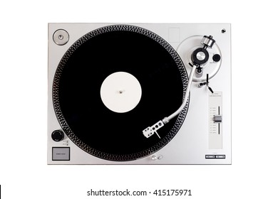 Vinyl player with a vinyl disk on a white background