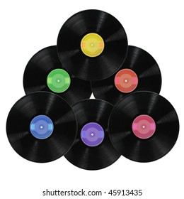 Vinyl record albums in various colors isolated over white Background