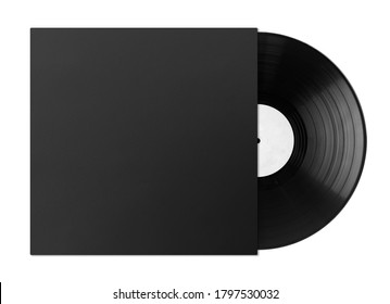 vinyl record, black LP disc cover with vinyl isolated on white background, top view, flat lay, mock up