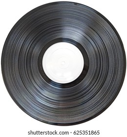 A vinyl record with blank label isolated on a white background.