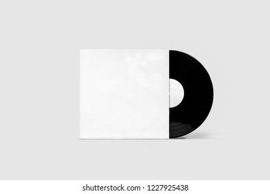 Vinyl Record with Cover Mock-up on a soft gray background. Disco party. Retro design. Front view.